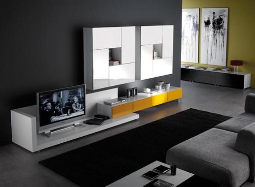 Ideias Para Sala De Estar Moderna ~ Decoração de Salas Modernas usando Tapetes e Iluminação