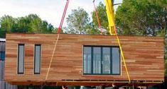 Transporte de um módulo de uma casa pré-fabricada