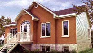 Casa pré-fabricada com uma janela do tipo Paladino