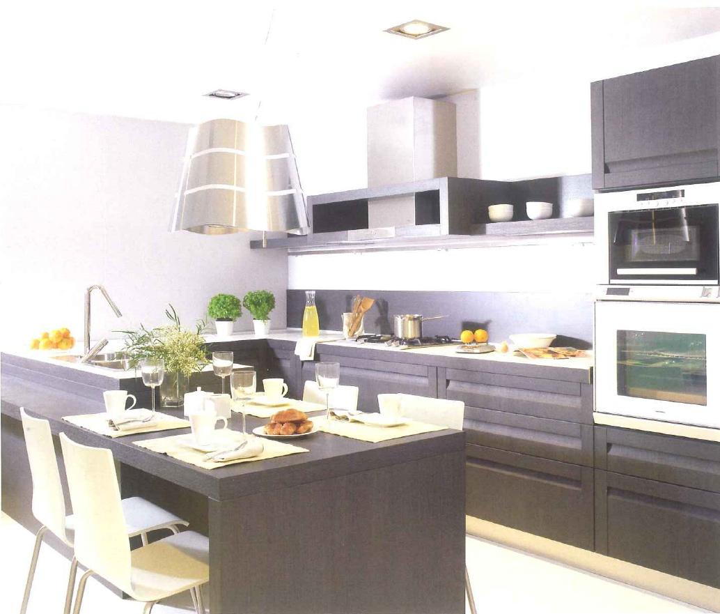 decoração de interiores, decoração cozinha - moveis cozinha wengué com dois niveis