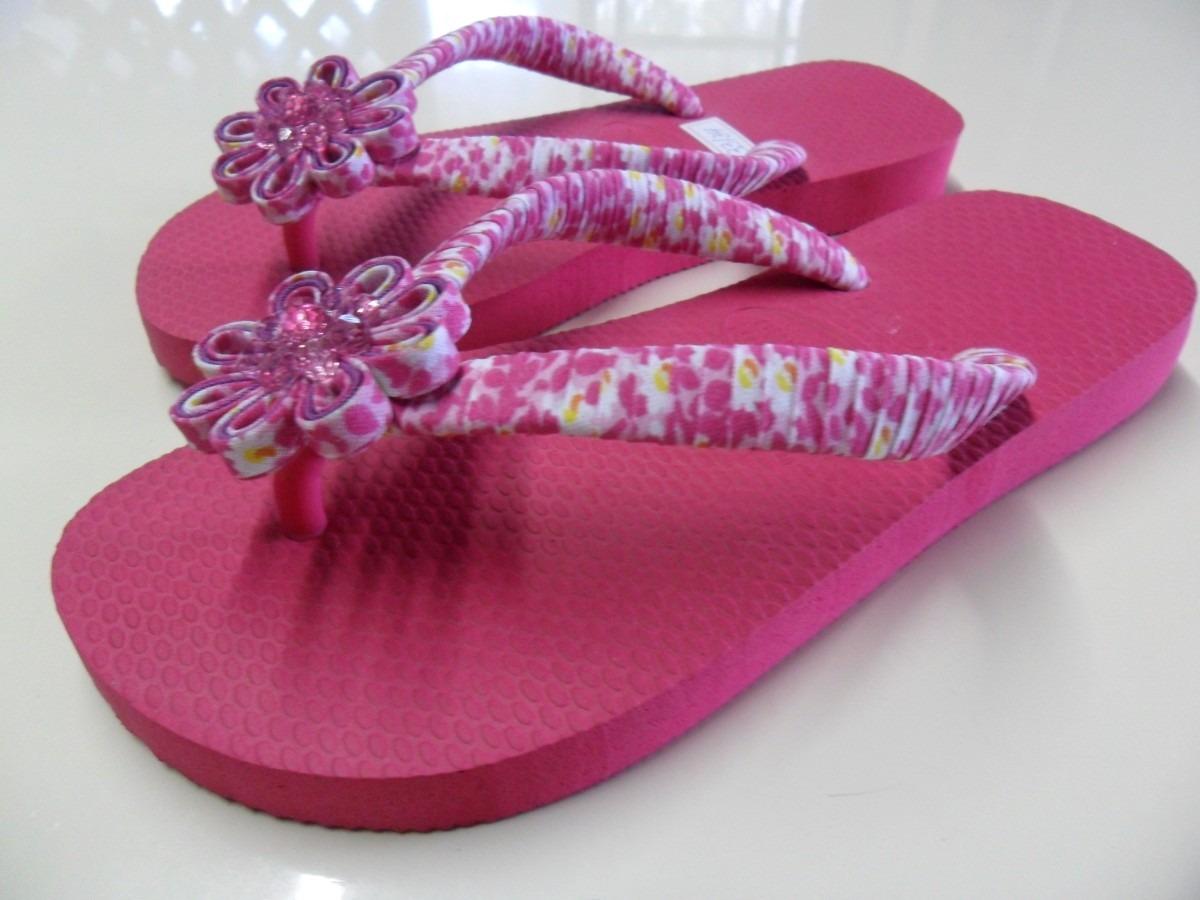 Amado Havaianas rosa com fuxico - Faça Você Mesmo ZQ87
